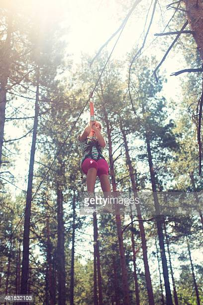 Girl Enjoy Ropes Course.