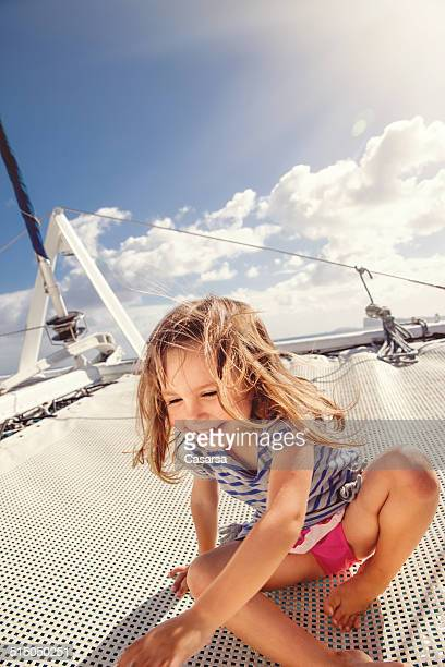 Girl enjoying a trip on catamaran