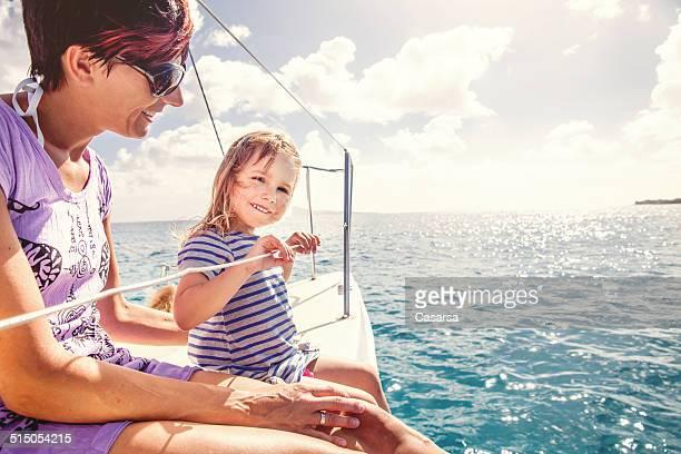 girl enjoying a trip on catamaran - catamaran stock photos and pictures