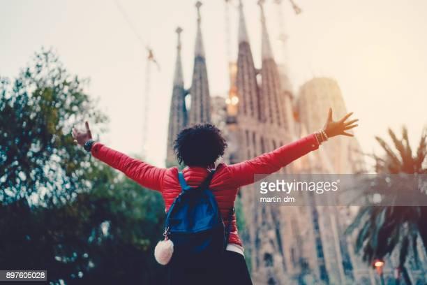 girl enjoying sagrada familia,barcelona - sagrada familia stock pictures, royalty-free photos & images