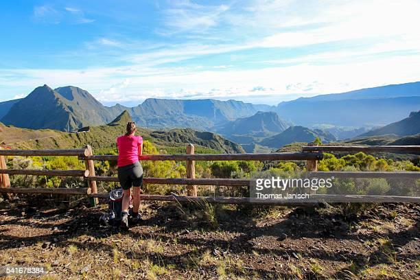 Girl enjoying the view into Cirque de Salazie from Col de Boeufs, La Réunion