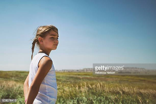 girl enjoying the view of the badlands - rebecca nelson stock pictures, royalty-free photos & images