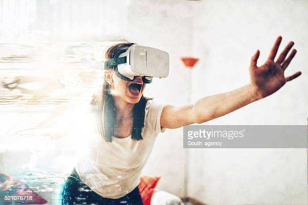 Girl escaping virtual reality