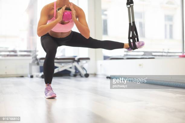girl exercising in the gym - barre class stock photos and pictures