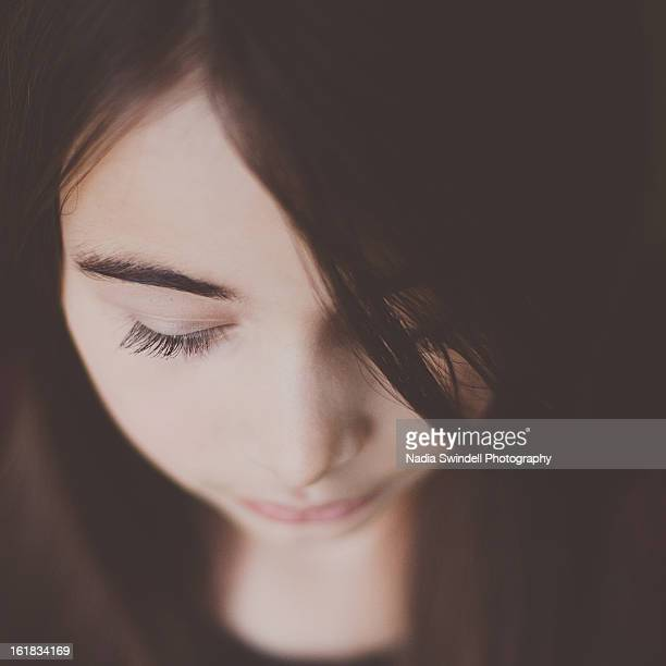 girl eyes closed - weybridge stock photos and pictures