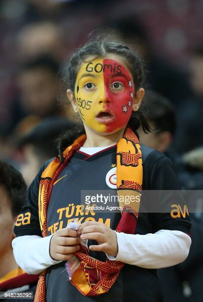 A girl fan of Galatasaray is seen during the Ziraat Turkish Cup semi final second leg match between Galatasaray and Teleset Mobilya Akhisarspor at...