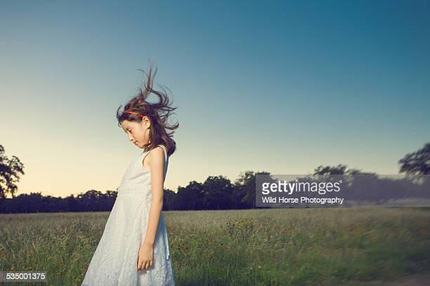 girl fells wind in the field - girl blowing horse - fotografias e filmes do acervo