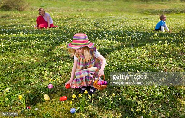 girl finding easter eggs - chasse aux oeufs de paques photos et images de collection