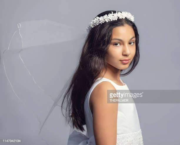girl first communion - communion stock pictures, royalty-free photos & images