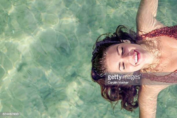 Girl floating on water