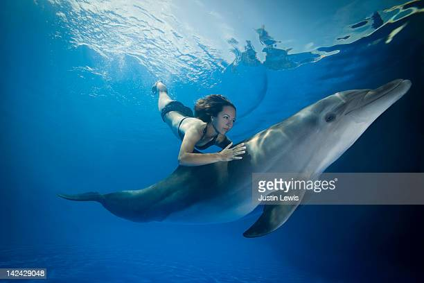 Girl free diving with hand on dolphins back