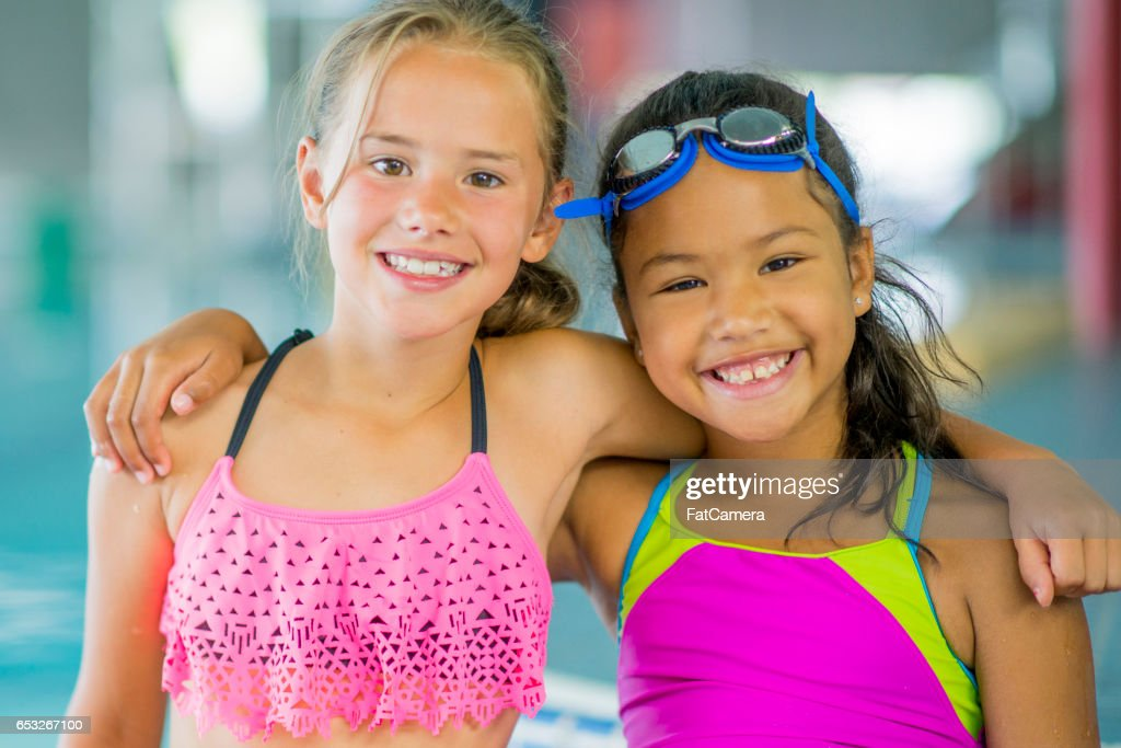 Girl Friends Going for a Swim : Stock Photo