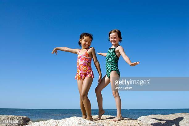 Girl friends hamming it up at the beach Paines Beach Cape Cod MA