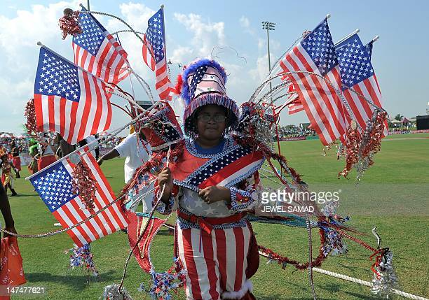 Girl from a local carnival band performs during the first T20 match between West Indies and New Zealand at the Central Broward Regional Park Stadium...