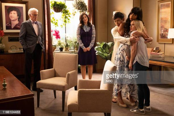 """Girl From Arizona"""" Episode 401/402 -- Pictured: Ted Danson as Michael, D'Arcy Carden as Janet, Manny Jacinto as Jason, Jameela Jamil as Tahani,..."""