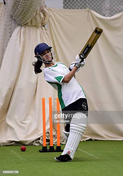 Girl from Carlton Bolling school practices her batting in the nets during the ECB announcement at Lord's Cricket Ground on November 11, 2015 in...