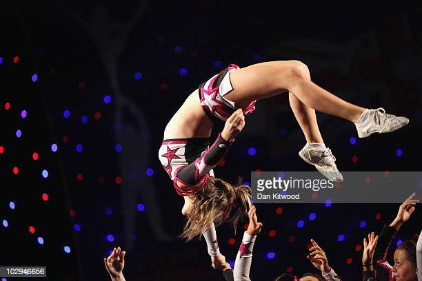 A girl from the RSD Action dance group performs at the BCA International Cheerleading and Dance Competition at the Ricoh Arena on July 17 2010 in...