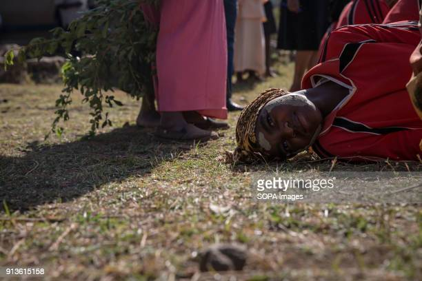 A girl from the Sebei tribe in Kapchorwa northeast Uganda reenact the ceremony they'd go through before circumcision or female genital mutilation Mud...