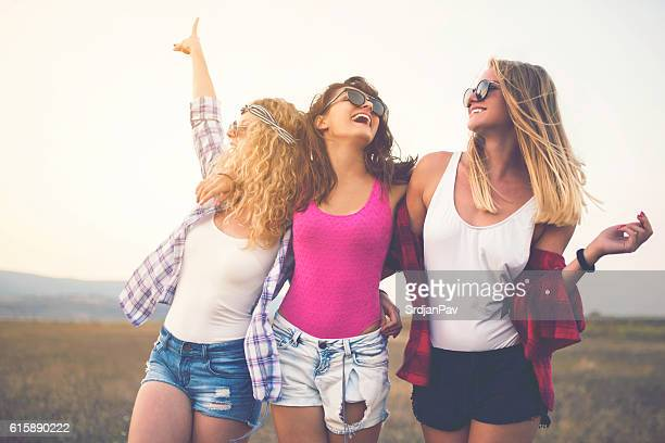 girl gang - hippie woman stock photos and pictures