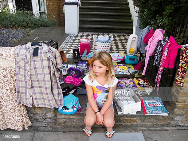 girl garage sale - garage sale stock pictures, royalty-free photos & images