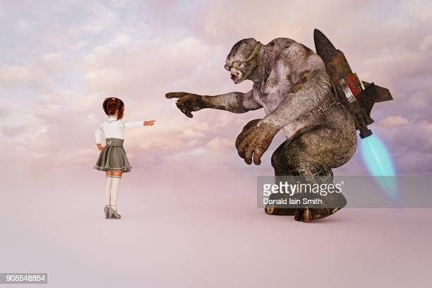 girl giving directions to ogre - monster fictional character stock pictures, royalty-free photos & images