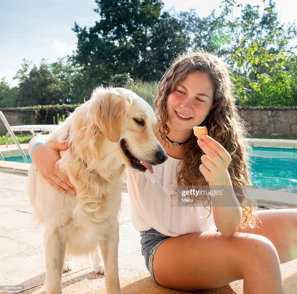 Girl giving harng her cookie with a dog : Stock Photo