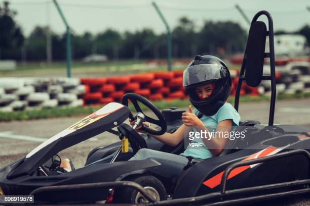 girl go-karts - go cart stock pictures, royalty-free photos & images