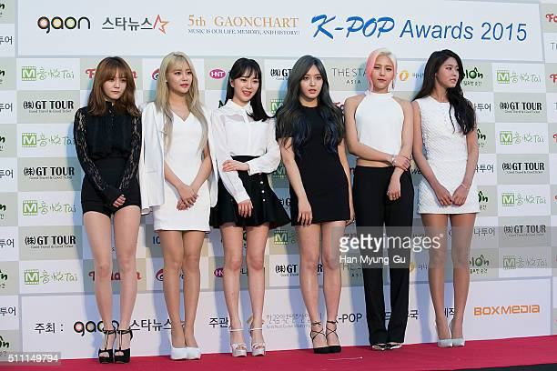 Girl group AOA attends the 5th Gaon Chart K-Pop Awards on February 17, 2016 in Seoul, South Korea.