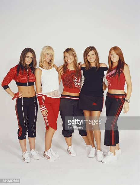 Girl group Girls Aloud circa 2003 They are Cheryl Cole Nadine Coyle Sarah Harding Nicola Roberts and Kimberley Walsh