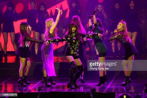Girl group IDLE performs on stage during the 8th Gaon Chart KPop Awards on January 23 2019 in Seoul South Korea