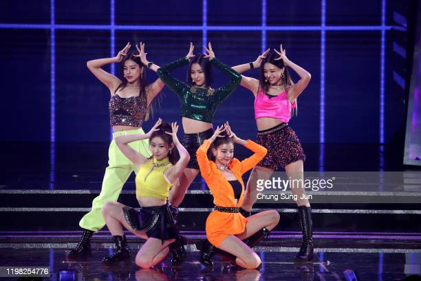 Girl group ITZY perform on stage during the 9th Gaon Chart K-Pop Awards on January 08, 2020 in Seoul, South Korea.