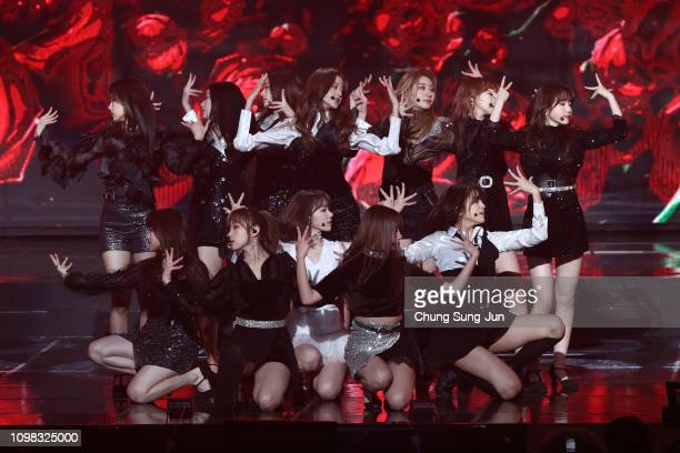 Girl group IZ*ONE performs on stage during the 8th Gaon Chart K-Pop Awards on January 23, 2019 in Seoul, South Korea.