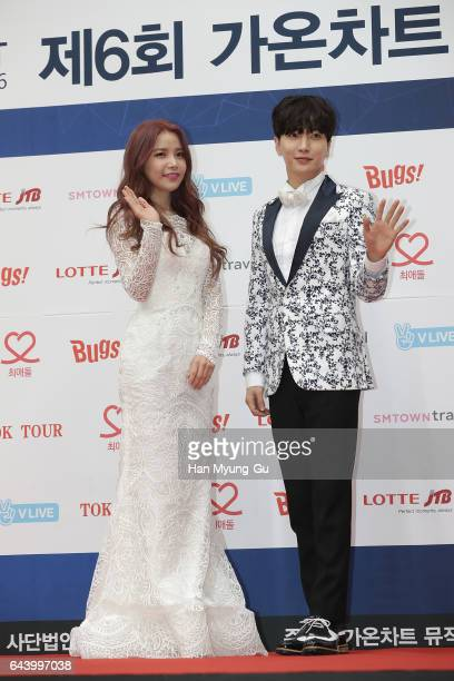 Girl group MAMAMOO and Leeteuk of South Korean boy band Super Junior attend the 6th Gaon Chart K-Pop Awards on February 22, 2017 in Seoul, South...
