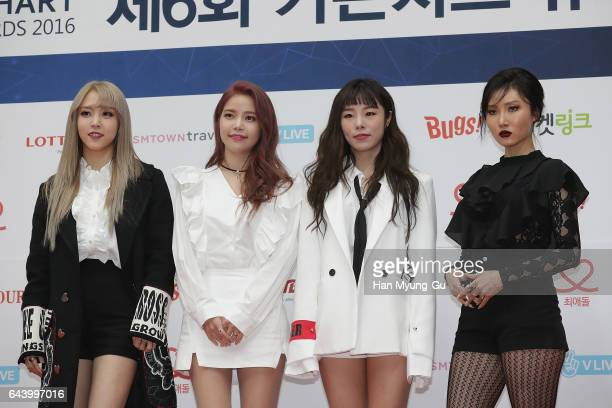 Girl group MAMAMOO attend the 6th Gaon Chart KPop Awards on February 22 2017 in Seoul South Korea
