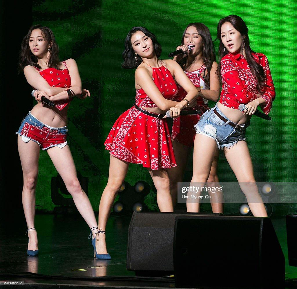Girl group SISTAR attends the '2016 SISTAR 4th Mini-Album Comeback Showcase' In Seoul on June 21, 2016 in Seoul, South Korea.