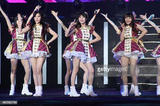 Girl group SNH48 performs on January 31 2015 in Shanghai China