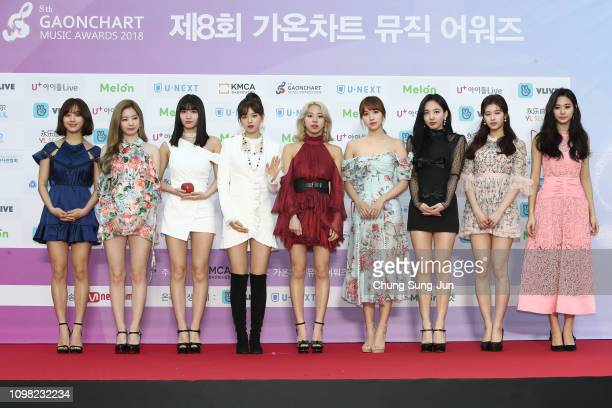 Girl group TWICE attends the 8th Gaon Chart K-Pop Awards on January 23, 2019 in Seoul, South Korea.