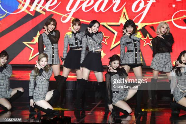 Girl group TWICE performs on stage during the 8th Gaon Chart K-Pop Awards on January 23, 2019 in Seoul, South Korea.