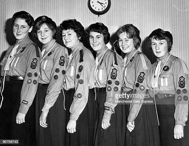 Girl Guides at the Hutton Quarry Manor Home for the Aged. Left to right: Margaret Osborne , Barbara Wood , Linda Barends , Irene Walkley , Janice...