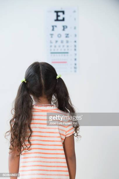 girl having eye exam in doctor's office - eye chart stock photos and pictures