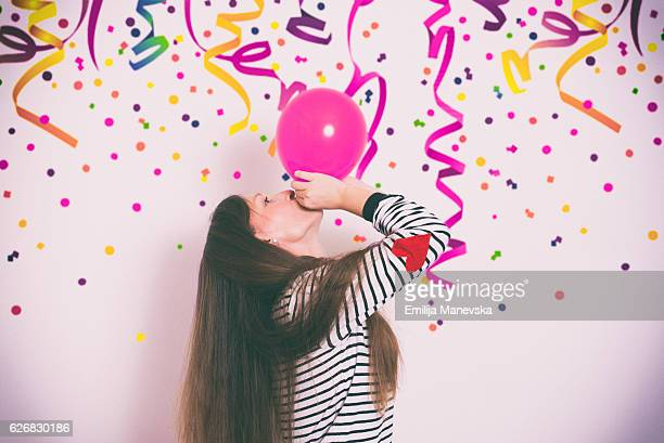 Girl having fun at a birthday party