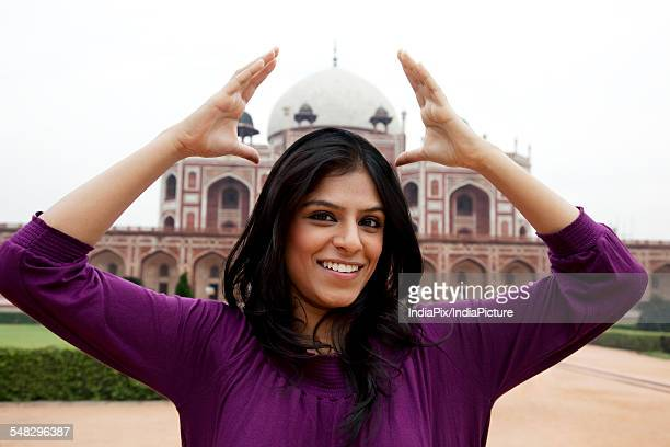 Girl having fun at Humayuns Tomb