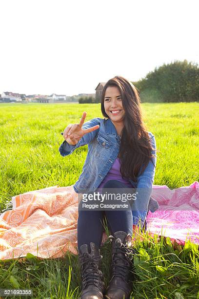 Girl having fun outdoors