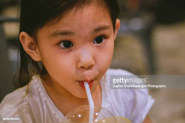 Girl having her favorite juice
