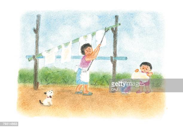 Girl helping mother hang up clothes, Illustration