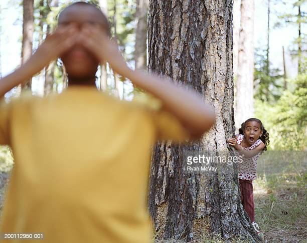 Girl (5-7) hiding behind tree, boy (10-12) covers eyes (focus on girl)