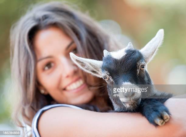 Girl holding a Baby Goat (XXXL)