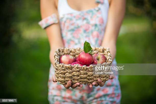 Girl holding a basket of apples