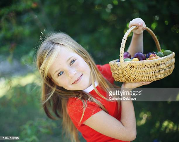 A girl holding a basket of fruits
