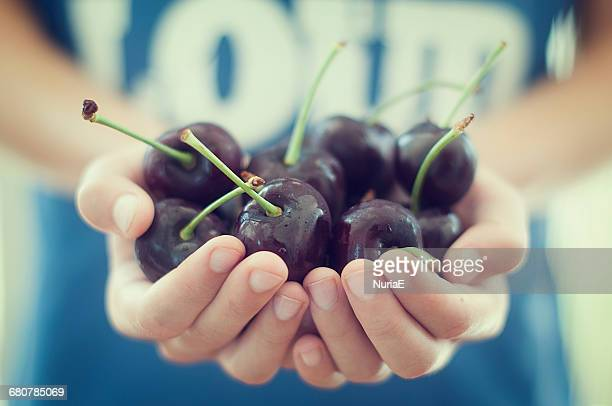Girl holding a handful of cherries